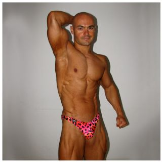 Mens Pink Leopard Swim Thong
